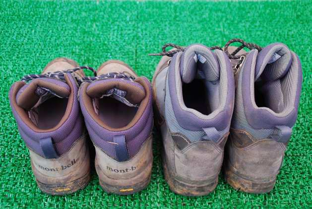 お借りした状態かなり、汚れています。トレッキングシューズはご覧のとおり複合素材で作られており、昔の革だけの登山靴に比べ、クッション・通気性・重量